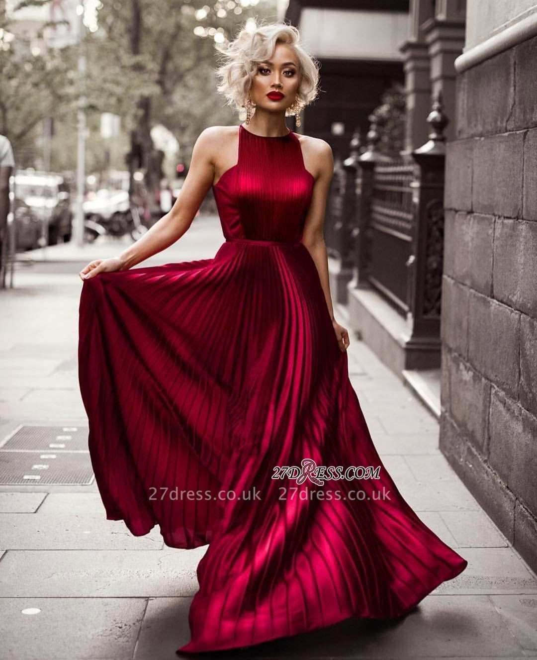 Prom Dress UKes UK Length Burgundy Floor Jewel Sheath Sleeveless Pleats Evening Dress UKes UK