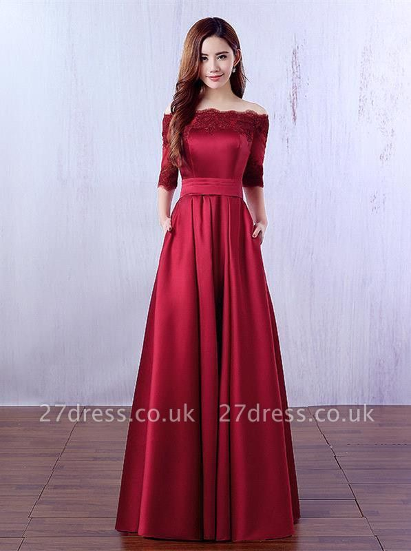 Gorgeous Burgundy Half-Sleeve Evening Dress UK Lace Long CPS388