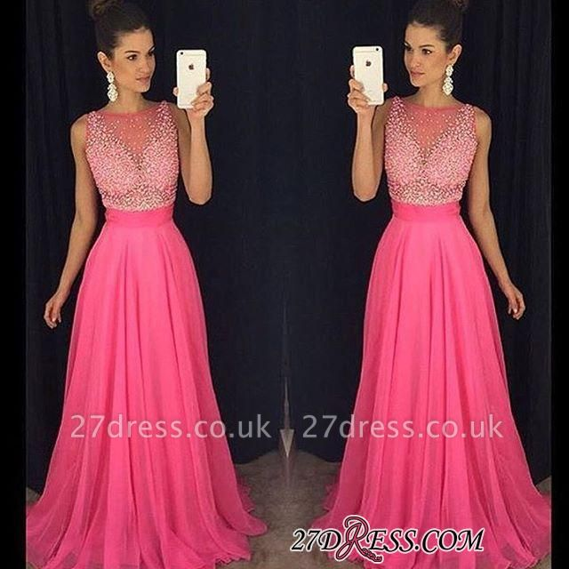 Newest Sleeveless Fuchsia Tulle A-Line Beadings Prom Dress UK