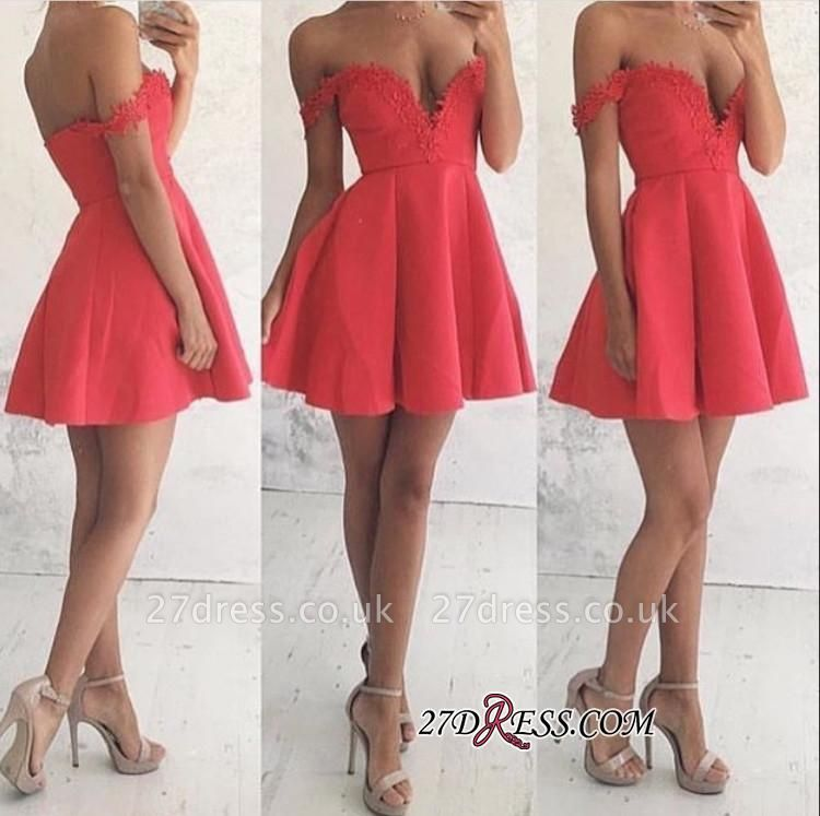 Lace Mini Off-the-shoulder A-line Newest Homecoming Dress UK BA4669