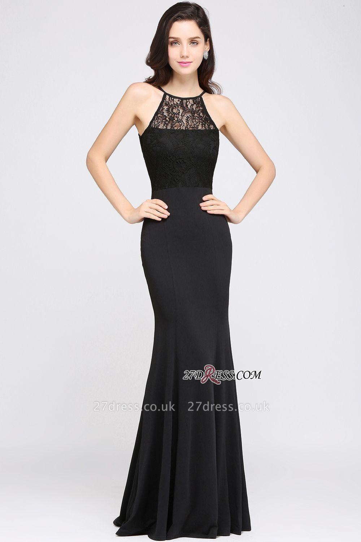 Chiffon Elegant Keyhole Mermaid Jewel Lace Sleeveless Black Evening Gown