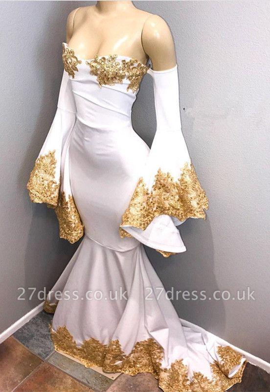 Long sleeve prom Dress UK with gold appliques, mermaid evening Dress UK BA8276