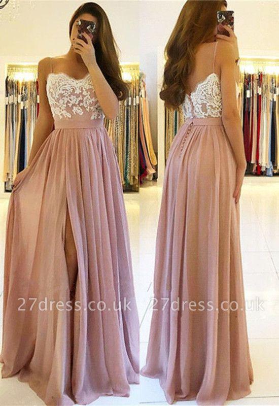 Sexy Lace Spaghetti Straps Prom Dress UK | Long Chiffon Evening Dress UK With Slit BA9633