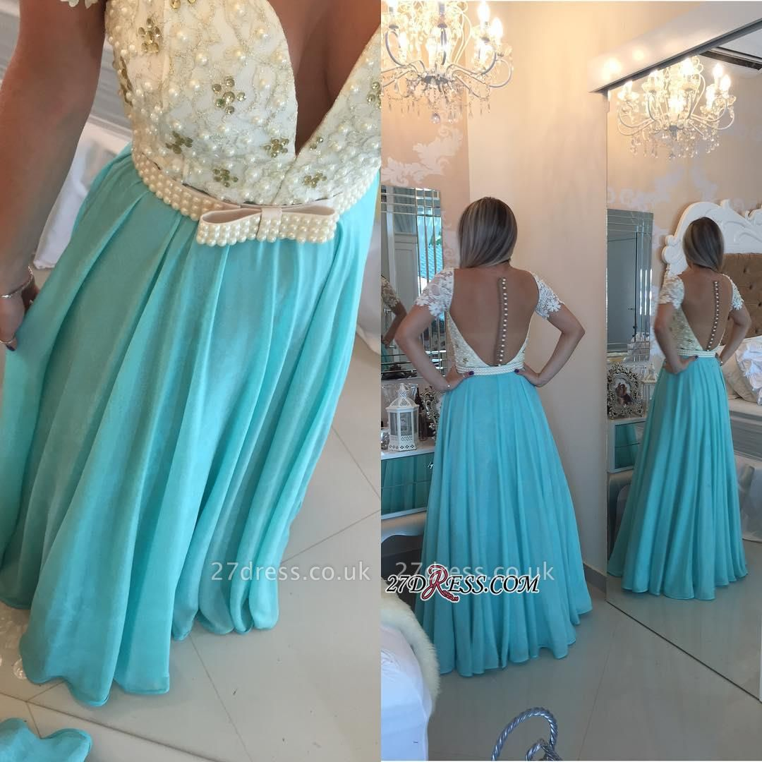 A-line Lace Pearls Short-Sleeve Chiffon Modest Prom Dress UK