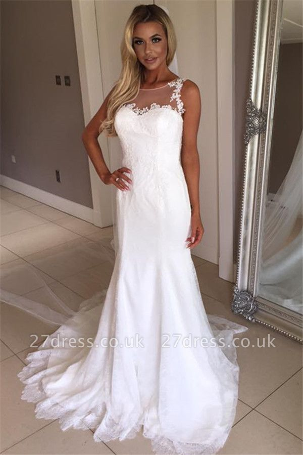 Elegant Sexy Mermaid Sleeveless Wedding Dress Lace Appliques Bridal Gowns