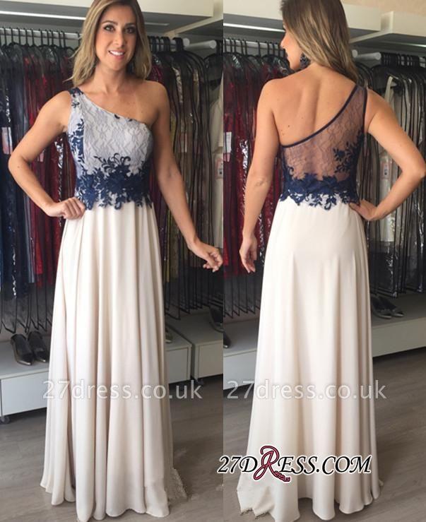 Applique Floor-Length Sexy One-Shoulder Chiffon Sleeveless Prom Dress UKes UK