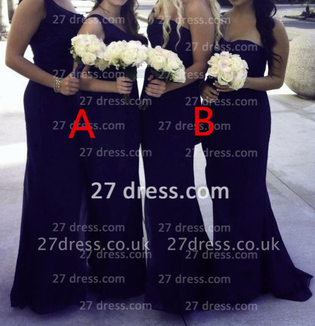 Sexy one shoulder seweetheart long chiffon different style bridesmaid Dress UK