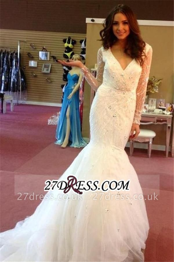 Beaded Sequins Puffy Gorgeous Sexy Mermaid V-neck Tulle Wedding Dresses UK BA4147