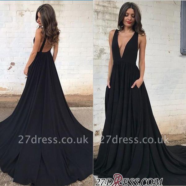 Sleeveless V-neck Straps Elegant Backless A-line Black Prom Dress UK sp0342