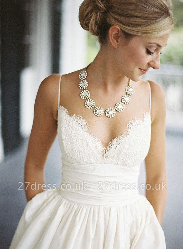 Modest Spaghetti Strap Lace Wedding Dress A-line Sleeveless Zipper BA4625