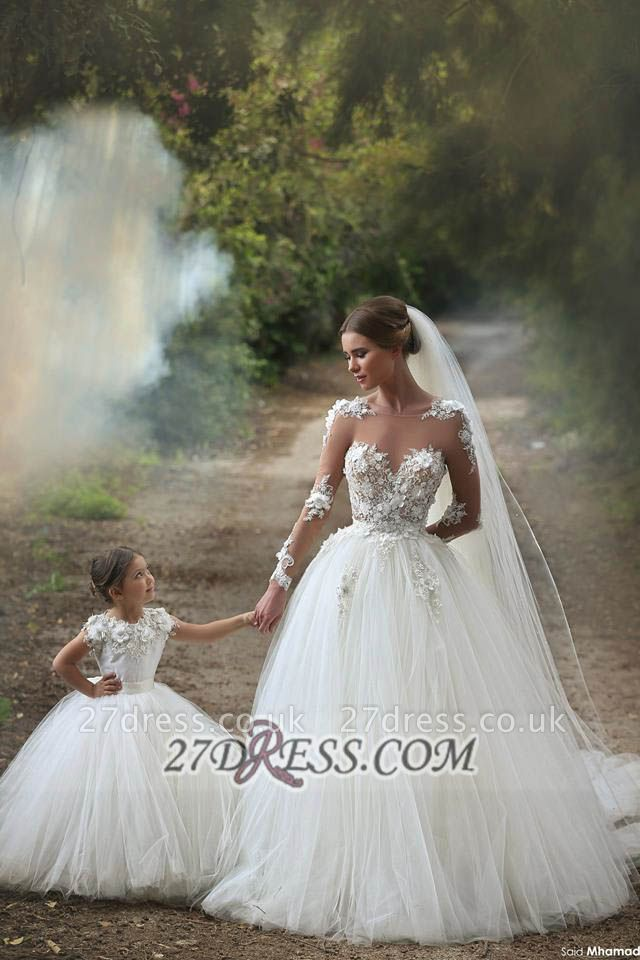 Long Sleeves Lace Appliques Wedding Dress Tulle Pretty Mother and Daughter Dress