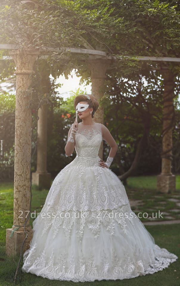 Elegant Tulle Lace Appliques Illusion Wedding Dress Ball Gown Zipper