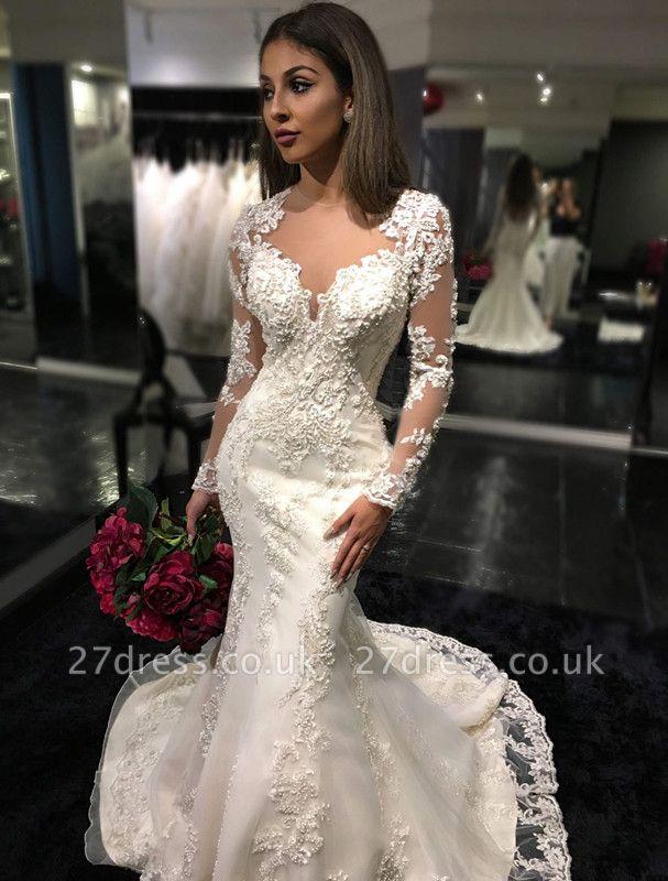 Elegant Long Sleeve Lace Wedding Dress Sexy Mermaid Zipper Button Back BA3741