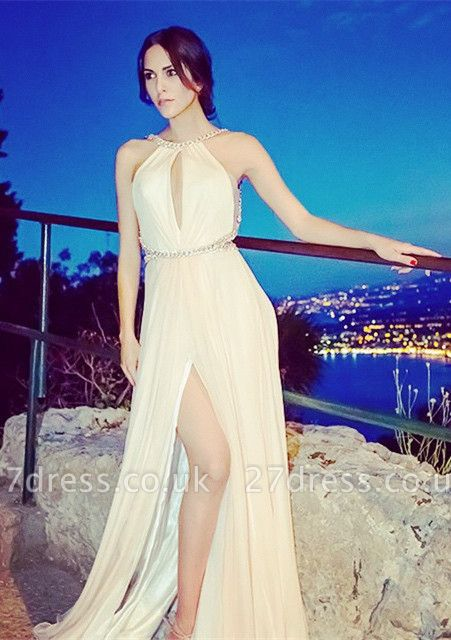 Luxury Sleeveless Front Split Long Evening Dress UK With Beadings
