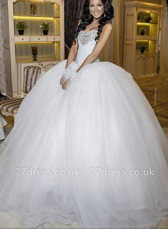 Elegant Ball Gown Tulle Wedding Dress Crystals White Court Train
