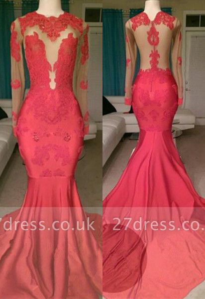 Gorgeous Long Sleeve Red Prom Dress UK Mermaid With Lace Appliques On Sale BA8522