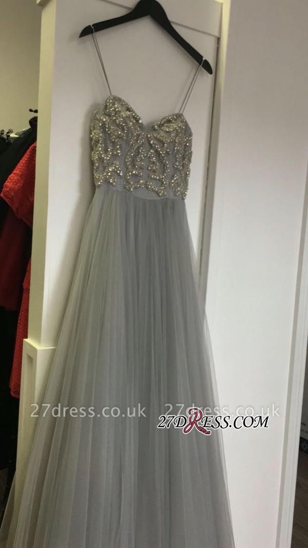 Sleeveless Beads A-line Spaghetti-Strap Tulle Newest Prom Dress UK