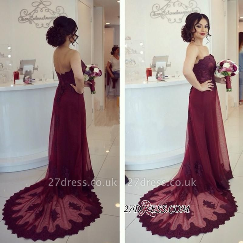 Burgundy Appliques Court-Train Strapless Lace Sexy Sexy Open-Back Prom Dress UK