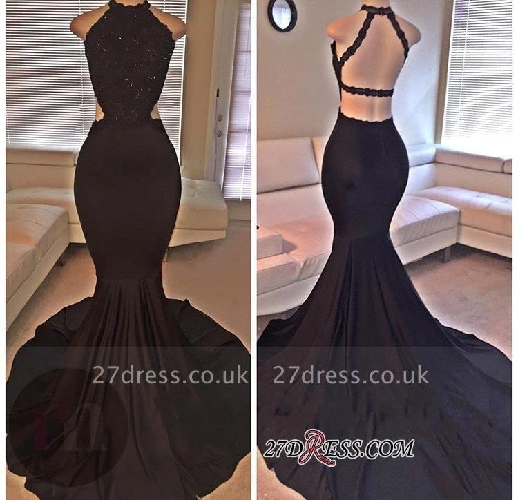 Backless Mermaid Lace Sleeveless Black Long Prom Dress UKes UK ly149