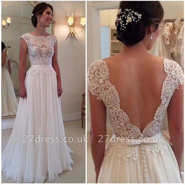 Long Lace Open Back Wedding Dress Sleeveless Elegant