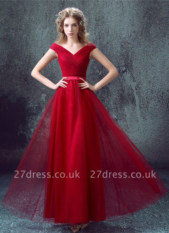Newest Red Off-the-shoulder A-line Prom Dress UK Lace-up Floor-length
