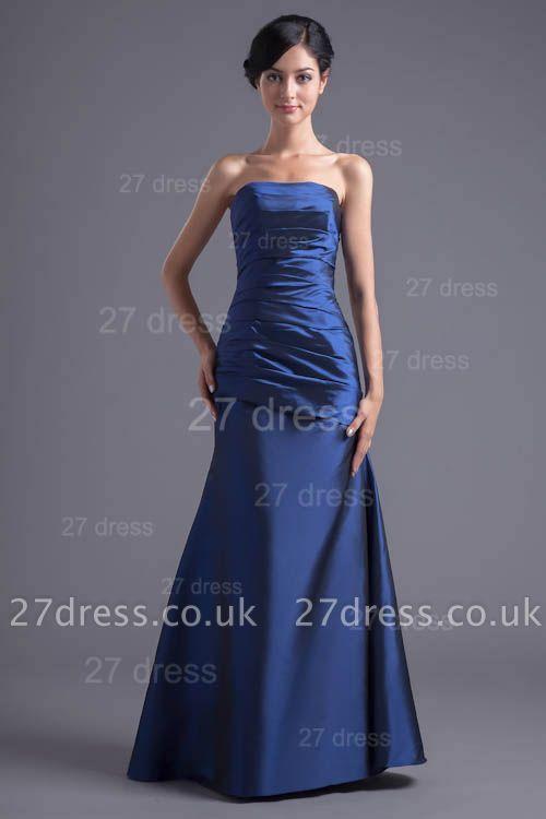 Modern Strapless A-line Sleeveless Evening Dress UK Floor-length Ruffles Zipper