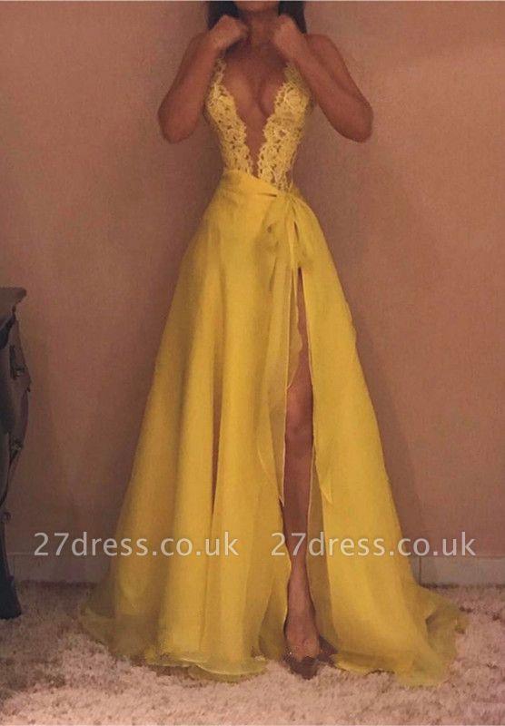 Yellow V-Neck Sleeveless Evening Dress UK | Lace Prom Dress UK With Split