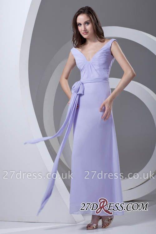 Open-Back Popular Ankle-Length Sexy V-neck Chiffon Lavender Bridesmaid Dress UKes UK