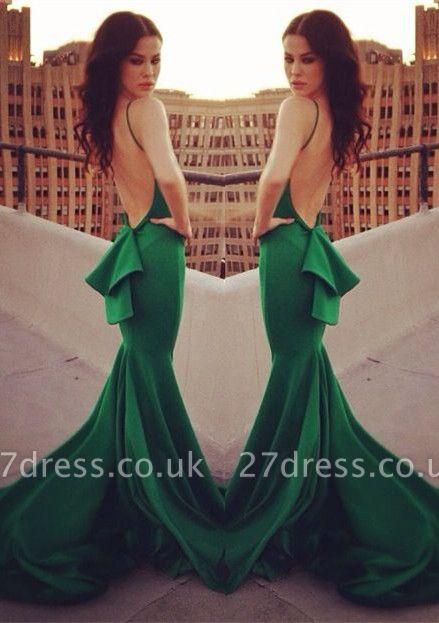 Elegant Mermaid Open Back Prom Dress UK Ruffles Sweep Train