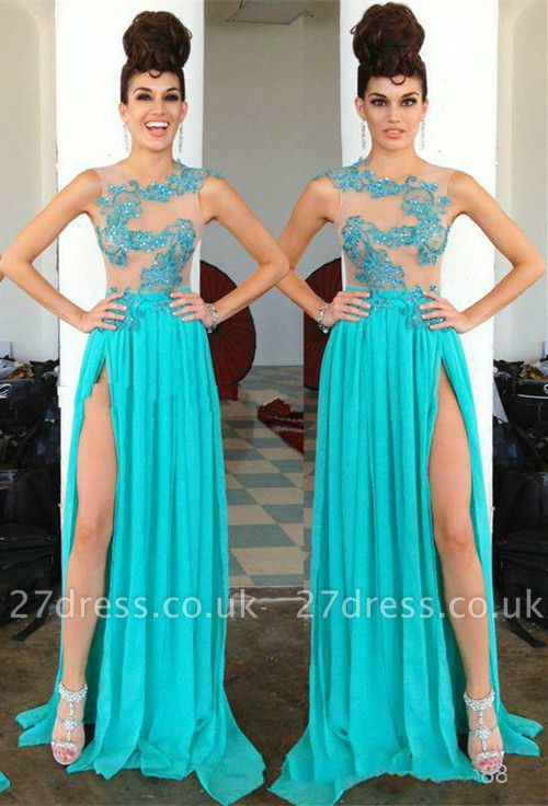 Modern Chiffon Appliques Sequined Prom Dress UK Front Split Sweep Train