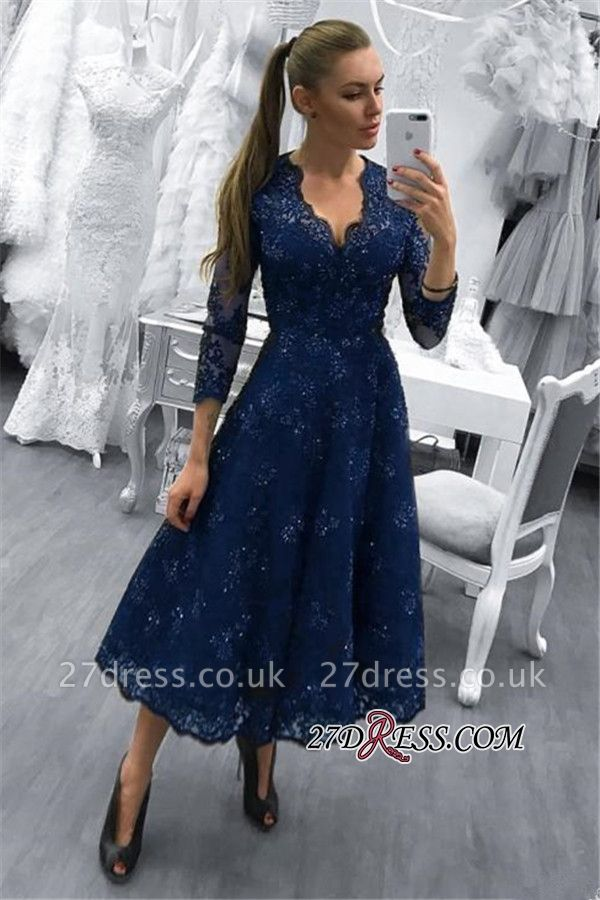 Tea-Length Lace Formal Dress UK | V-Neck Dark-Navy Evening Dress UK