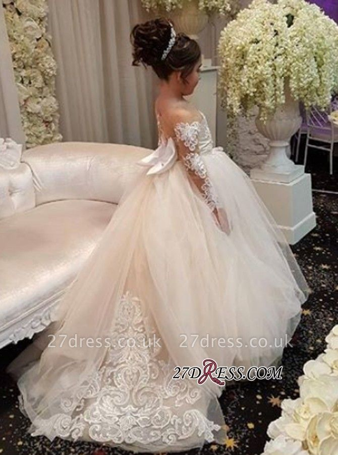 Long-Sleeve Lace Gown Romantic Ball Flower Girls Dresses BA7399