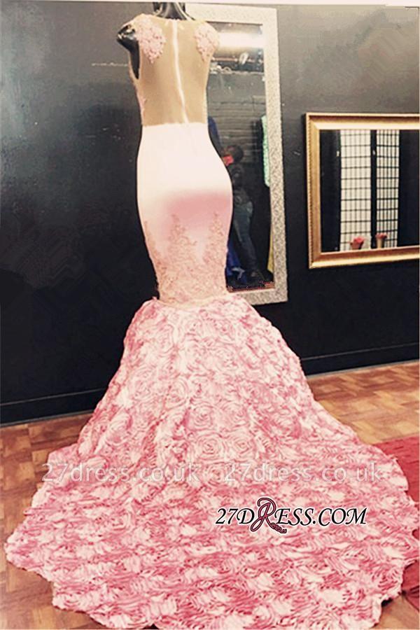 Luxury Illusion Appliques Flowers-Bottom Pink Sleeveless Lace Mermaid Prom Dress UK