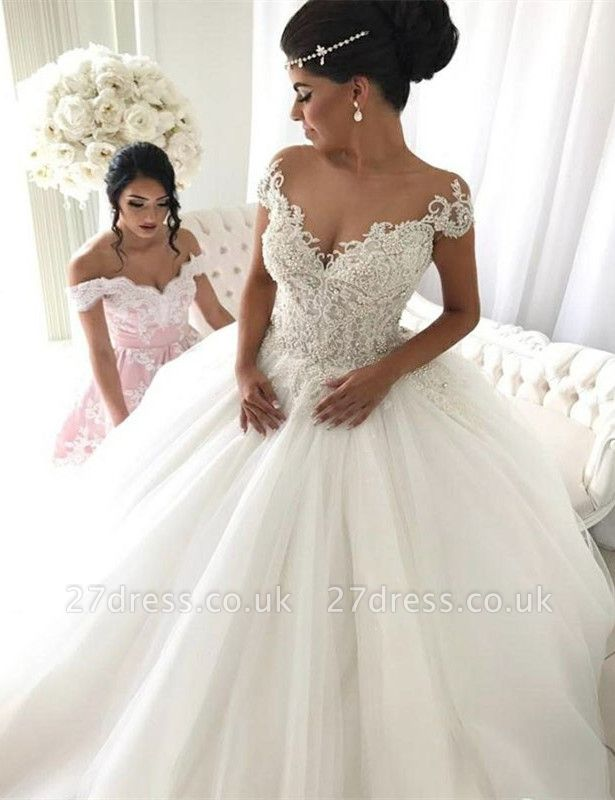Modest Ball Gown Lace Off-the-shoulder Wedding Dress | Ivory Bridal Gown