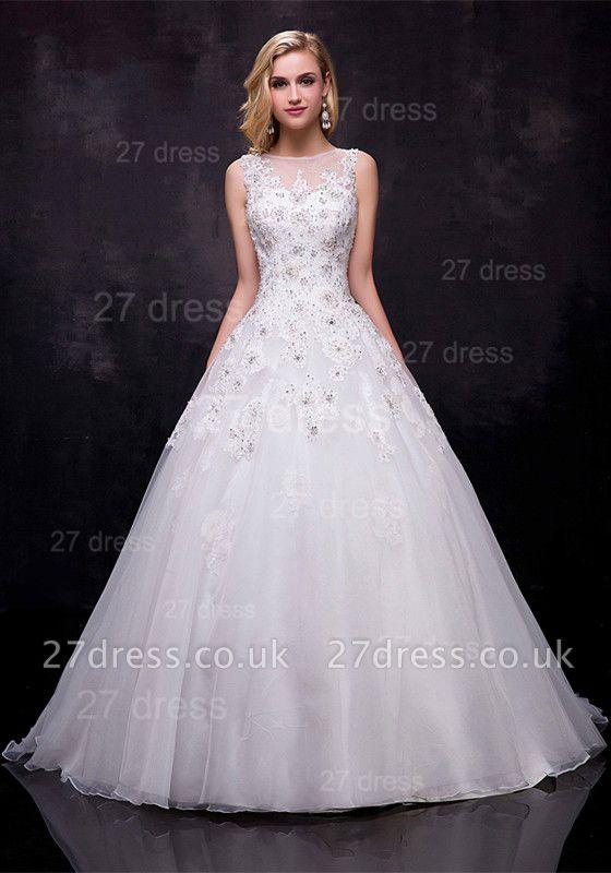 Modern Lace Appliques Wedding Dress Tulle Court Train