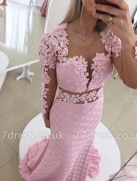 Gorgeous Pink Mermaid Lace Appliques Prom Dress UK Open Back