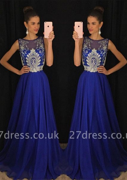Luxury Dark Royal Blue Sleeveless Evening Dress UKes UK Long Chiffon With Appliques Beadings AP0