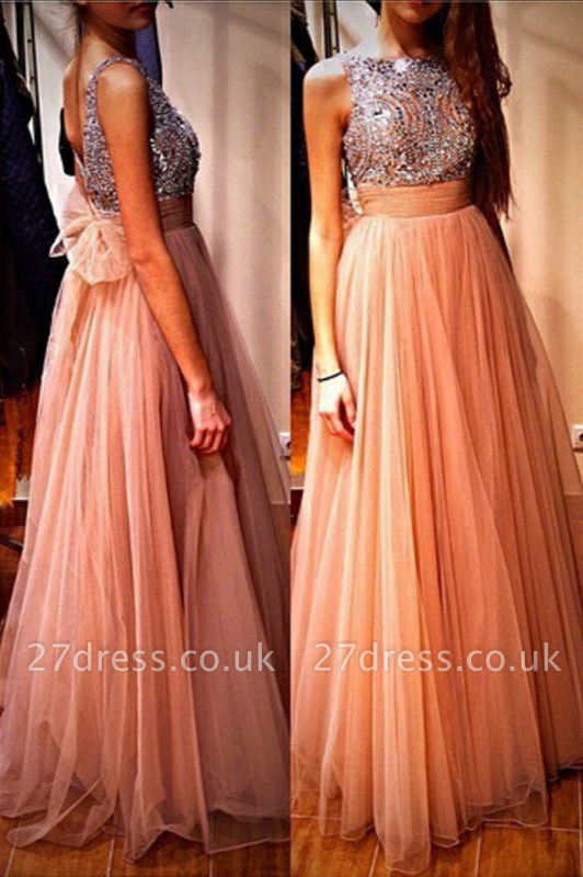 Gorgeous Tulle Beadings Crystals Prom Dress UK Long Bowknot Back BA4874