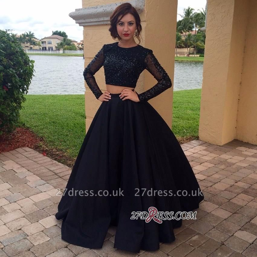 Two-Pieces Appliques Long-Sleeves Black A-Line Crystal Prom Dress UK BA4617