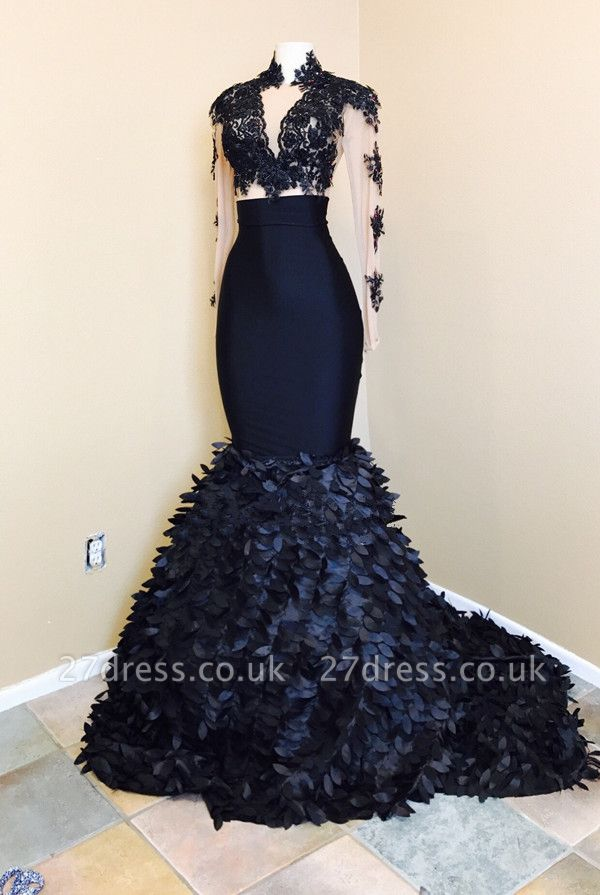 Long sleeve mermaid prom Dress UK, lace evening gowns RM0