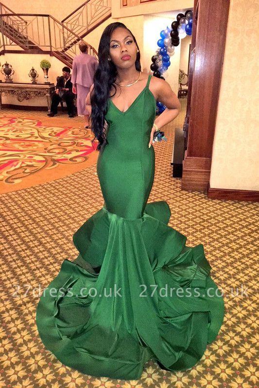 Charming V-Neck Mermaid Evening Dress UK Ruffles Party Gowns BK0 BA8446