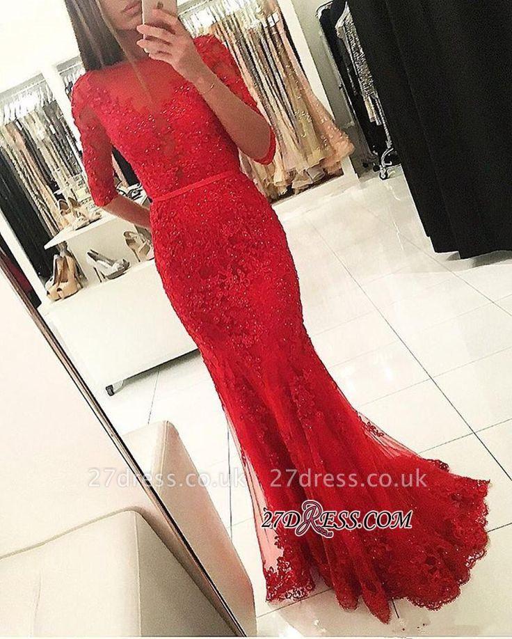 Tulle Red Mermaid Half-Sleeves Newest Beadings Appliques Prom Dress UK