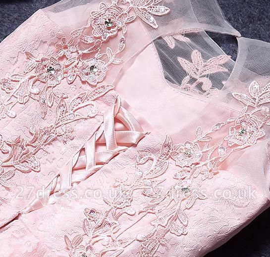 A-Line Lace Pink Sleeveless Appliques Homecoming Dress UK