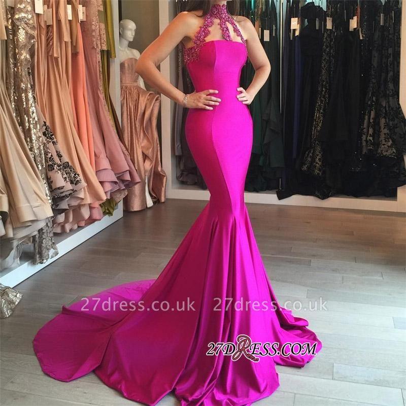 Sweep-Train Sleeveless Modest High-Neck Mermaid Lace-appliques Prom Dress UK