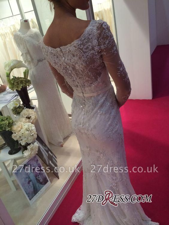 Lace Buttons Sexy Mermaid Appliques Crystal Long-Sleeves Elegant Wedding Dress