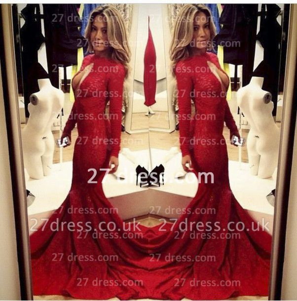 Lace Vintage Retro Mermaid prom Dress UKes UK Red Front Open Long Sleeve Prom Gowns with Sweep Train