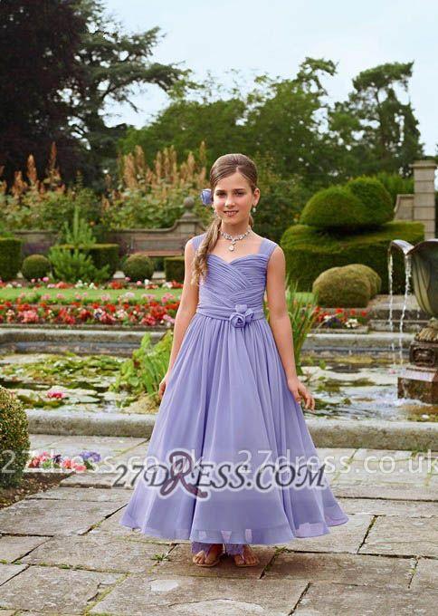 Lovely Sleeveless Chiffon Floor-length Girl Pageant Dress With Flower