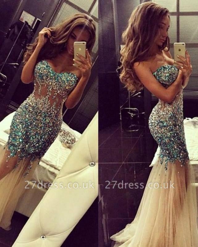 Luxurious Crystals Tulle Mermaid Prom Dress UK Sweep Train