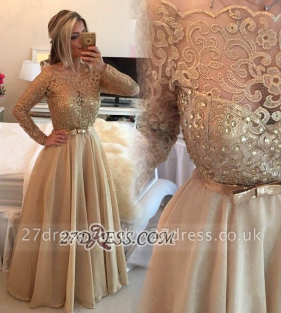 Luxurious Long Sleeve Beadings Evening Dress UK With Lace Appliques And Bowknot