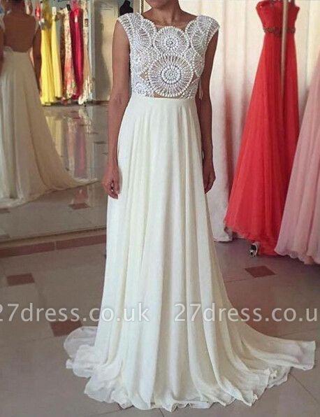 Newest Pearls Chiffon A-line Prom Dress UK Cap Sleeve Sweep Train